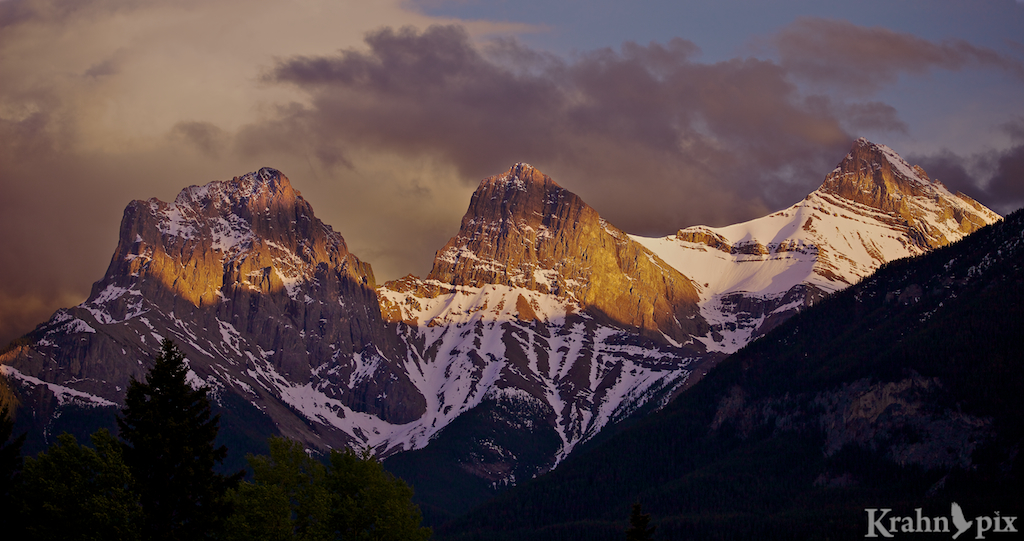Three Sisters, Canmore, Alberta, sky, mountains